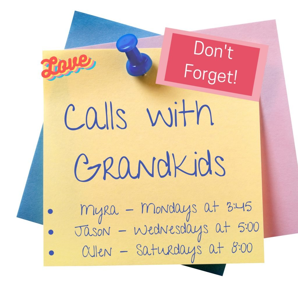 Sticky Note - Calls with Grandkids Family Video Call Schedule