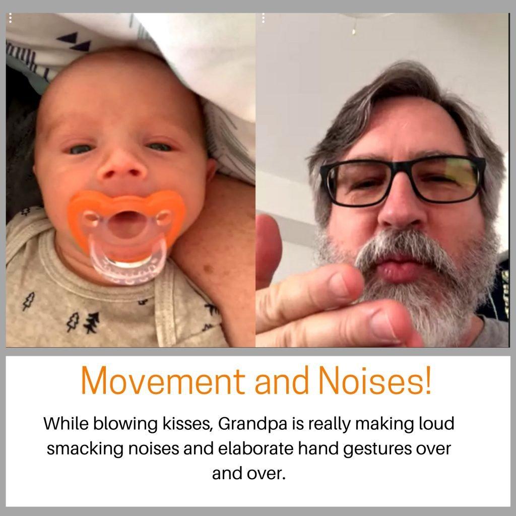Baby looking at camera as Grandpa kisses goodbye.