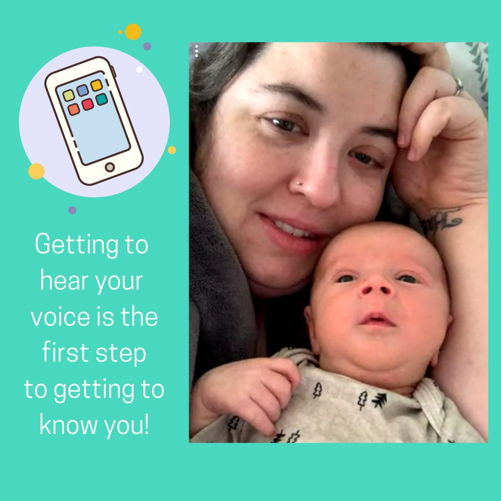 Mom and baby on video call.