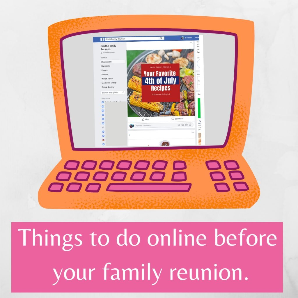Computer with online family reunion activities.